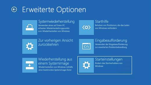 """Bildschirm """"Erweiterte Option"""" in der Windows-Wiederherstellungsumgebung."""