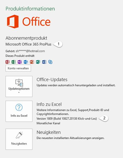 Konto-Seite mit Benutzer-und Produktinformationen