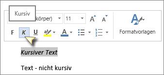 """Klicken Sie auf """"Text"""" und dann auf """"Kursiv""""."""