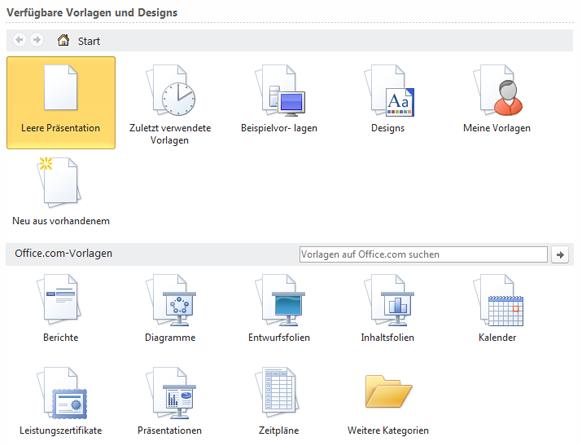 Auswählen von Vorlagen aus Onlinespeicherorten oder vom Desktop