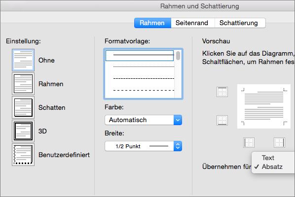 """Die Registerkarte """"Rahmen"""" wird im Dialogfeld """"Rahmen und Schattierung"""" angezeigt."""