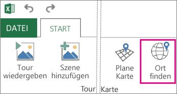 Schaltfläche 'Ort finden' auf der Power Map-Registerkarte 'Start'
