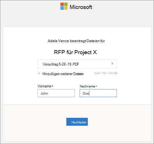 Das Dialogfeld zum Hochladen von Dateien als Antwort auf eine Datei Anforderung in OneDrive for Business