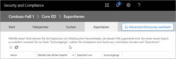 """Klicken Sie auf """"Exportieren"""", um eine Liste der Exportaufträge anzuzeigen."""