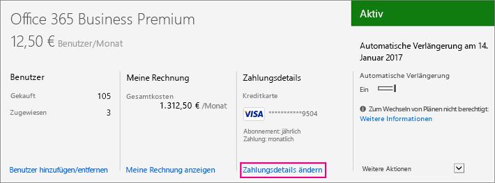 Link zum Ändern von Zahlungsdetails im Office 365 Admin Center