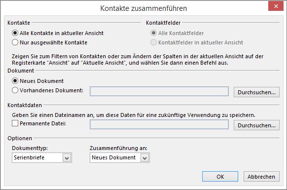 Verwenden Von Outlook Kontakten Als Datenquelle Für Den