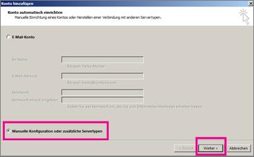Verwenden des manuellen Setups in Outlook 2013