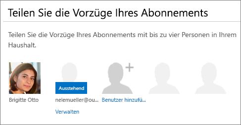 """Der Abschnitt """"Ihre Abonnementvorteile teilen"""" auf der Seite """"Office 365 teilen"""", in dem ein Mitbenutzer als """"Ausstehend"""" angezeigt wird."""