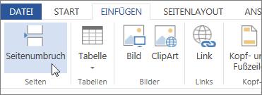 Schaltfläche 'Seitenumbruch' in Word Web App