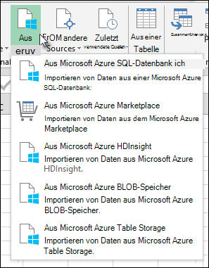 "Power Query-Dialogfeld ""aus Azure importieren"""