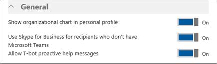 """Screenshot des Abschnitts """"Allgemein"""" auf der Seite mit den Einstellungen für Microsoft Teams. Hier können Sie Organigramme in Benutzerprofilen aktivieren oder deaktivieren und festlegen, ob Teams zusammen mit Skype for Business verwendet werden kann."""