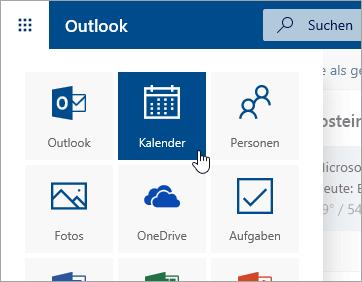 Screenshot der Kalender-Kachel im App-Startfeld