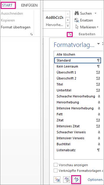 Schaltfläche 'Formatvorlagen verwalten' im Bereich 'Formatvorlagen'