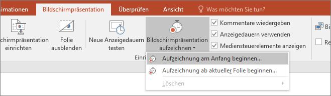 Abbildung der Schaltfläche 'Bildschirmpräsentation aufzeichnen' in PowerPoint