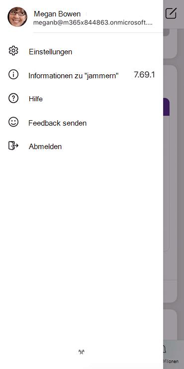 """Screenshot, der zeigt, wie ein Profil in der mobilen App """"jammern"""" eingerichtet wird"""