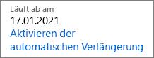 So sieht ein ablaufendes Abonnement aus, wenn die automatische Verlängerung deaktiviert ist.