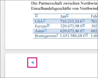 Auf der Seite ist nach einer Tabelle eine leere Absatzmarke hervorgehoben