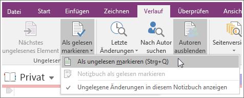 """Screenshot der Schaltfläche """"Als gelesen markieren"""" in OneNote 2016"""