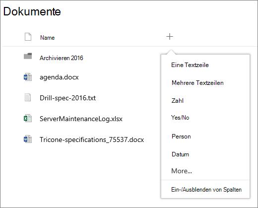 Hinzufügen einer Dropdownliste für eine Spalte in einer mit einer Gruppe verbundenen Dokumentbibliothek