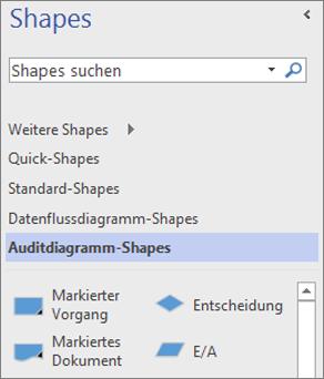 """Weitere Vorlagen im Arbeitsbereich """"Shapes"""""""