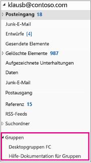 "Abschnitt ""Gruppen"" im Navigationsbereich von Outlook2016"