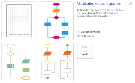 """Screenshot des Bildschirms """"Vertikales Flussdiagramm"""" mit einer Vorlage und Optionen für Maßeinheiten"""
