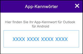 Notieren Sie sich Ihr App-Kennwort.