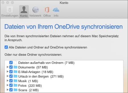 """Dialogfeld """"Synchronisieren von Ordnern"""" für OneDrive für Mac"""