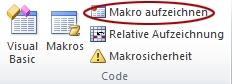 Befehl 'Makro aufzeichnen' auf der Registerkarte 'Entwickler' in der Gruppe 'Code'