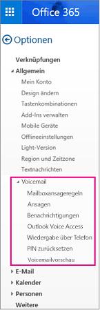 Voicemailoptionen im Bereich für Outlook-E-Mail-Optionen