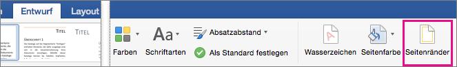 """Auf der Registerkarte """"Entwurf"""" ist die Option """"Seitenrand"""" hervorgehoben."""