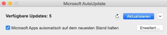 Microsoft AutoUpdate-Fenster, wenn Updates verfügbar sind.