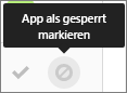 """Auswählen des Symbols """"Apps als gesperrt markieren"""""""