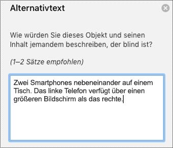 Alternativtext in Outlook für Mac