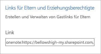 """Link für Links für Eltern oder Erziehungsberechtigte in """"Notizbücher verwalten""""."""
