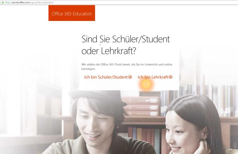 Screenshot der Anmeldeoptionen für Lehrkräfte und Schüler