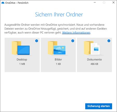 """Screenshot des Dialogfelds """"Schutz des wichtigen Ordners einrichten"""" in OneDrive"""