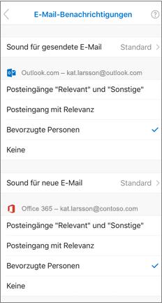 """Seite """"e-Mail-Benachrichtigungen"""" mit aktivierten Favoriten"""