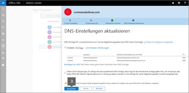 Kehren Sie zu der Seite DNS-Einträge hinzufügen, und klicken Sie auf Überprüfen