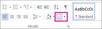 Schaltfläche 'Rahmen' auf der Registerkarte 'Start'