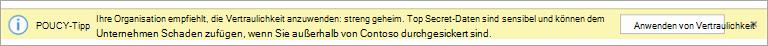 Screenshot eines Richtlinien Tipps für eine empfohlene Vertraulichkeits Bezeichnung