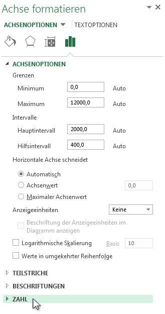 """Option """"Zahl"""" im Dialogfeld """"Achse formatieren"""""""