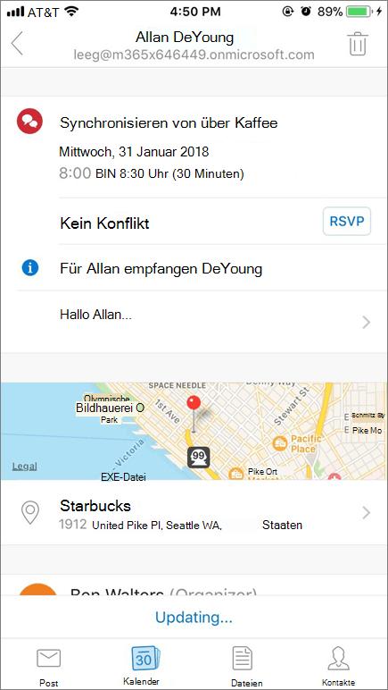 Screenshot zeigt Bildschirm des mobilen Geräts mit Einladung Kalenderelement.