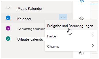 Screenshot des Mauszeigers, der auf Freigaben und Berechtigungen im Kontextmenü des Kalenders zeigt