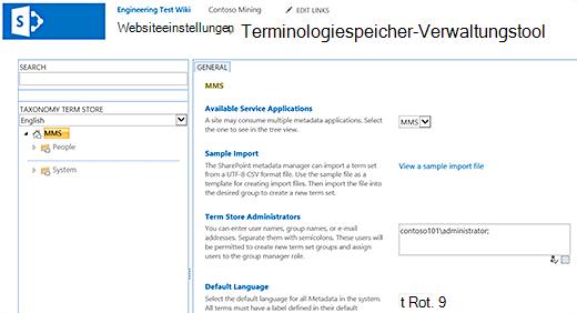 Das Dialogfeld Terminologiespeicher-Verwaltungstool.