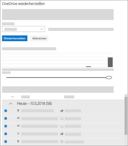 """Screenshot der Verwendung des Aktivitätsdiagramms und Aktivitätsfeeds zum Auswählen von Aktivitäten in """"OneDrive wiederherstellen"""""""