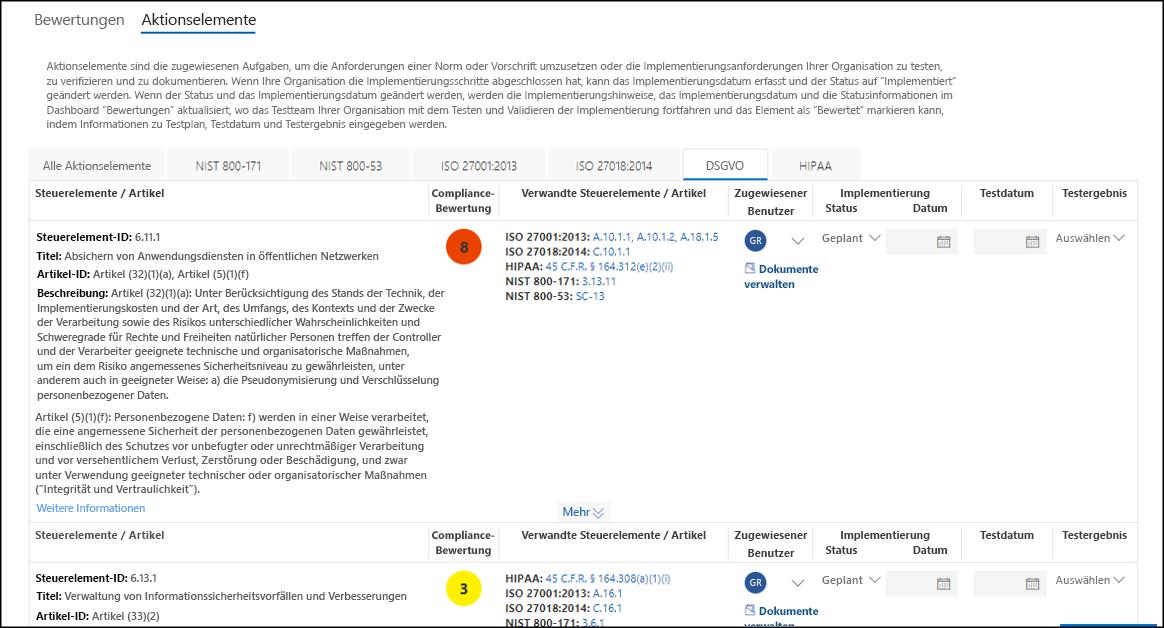 """Compliance-Manager – Liste """"Aktionselemente"""" mit mehreren Registerkarten, """"DSGVO"""" ausgewählt"""