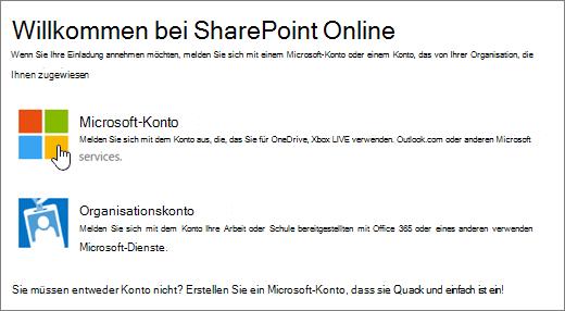 Screenshot des SharePoint Online-Anmeldebildschirms.