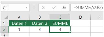 Die Funktion SUMME wird bei eingefügten oder gelöschten Zeilen und Spalten automatisch angepasst.