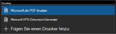 """Menü """"Drucken"""""""